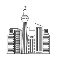 Canadian skyscraper canada single icon in outline vector