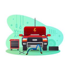Car service garage and workshop vector