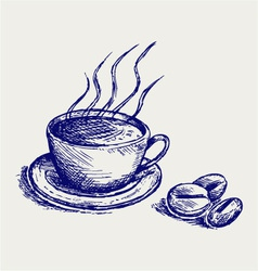 Coffee cup and beans vector image vector image