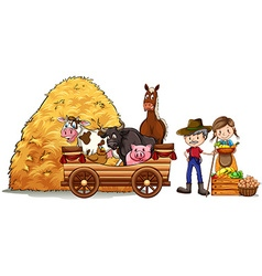 Farmers and farm animals vector image