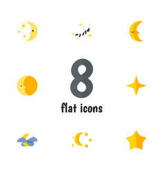 Flat icon midnight set of lunar nighttime vector