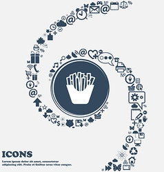 Fry icon in the center around the many beautiful vector