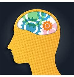 Gear brain head man vector