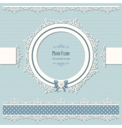 Lacy round frame and borders vintage vector