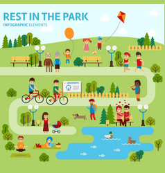 rest in the park infographic elements flat vector image