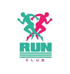 Run club logo badge with abstract running men vector