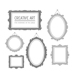 set of gray rectangular and oval frames i vector image vector image