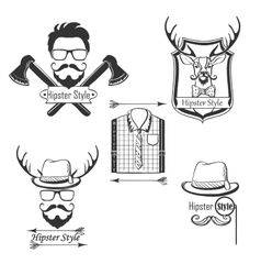 Set of Hipster style logosbadges labels and vector image vector image