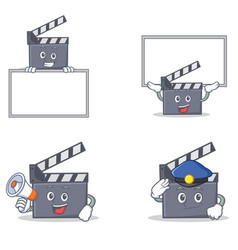 Set of movie clapper character with board police vector
