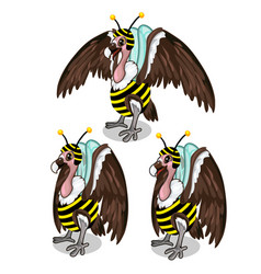 Set of three vultures in bee costume birds vector
