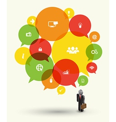 Speech icon and business man vector image
