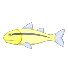 Yellow fish with black stripe icon cartoon style vector