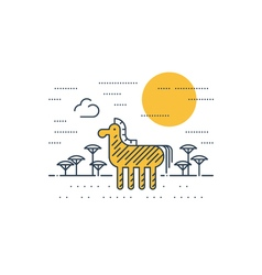 Zebra outdoor simple cartoon vector image