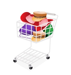 Hats and helmet in a shopping cart vector