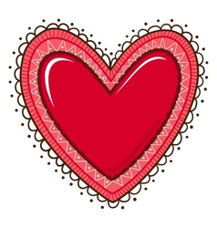 Glossy heart with lace edging vector