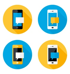 Mobile message circle flat icons set vector