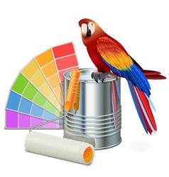 Paint concept with parrot vector