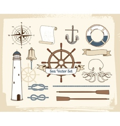 Vintage nautical decoration set vector