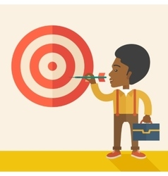 Working black man holding a target arrow vector
