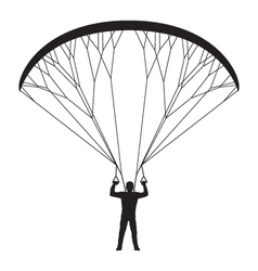 Black silhouette of a man with a paraglider vector