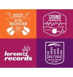 Music production logos set musical label vector