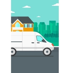 Background of the city with delivery truck vector