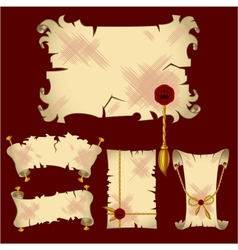 Ancient parchment banners vector