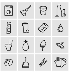 Line cleaning icon set vector