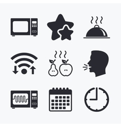 Microwave oven icon cooking food serving vector