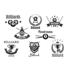 billiards poolroom sport tournament badges vector image vector image