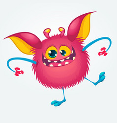 cartoon pleased funny monster dancing vector image