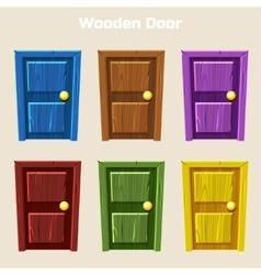 Cartoon Wooden Colorful Door vector image vector image