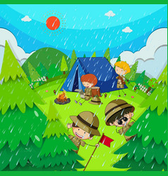 Children camping in park on rainy day vector