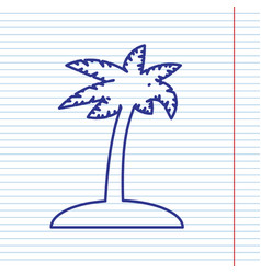 Coconut palm tree sign navy line icon on vector