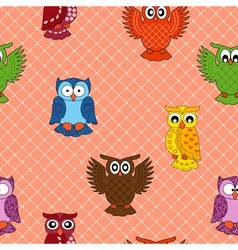 Colourful owl seamless pattern vector image