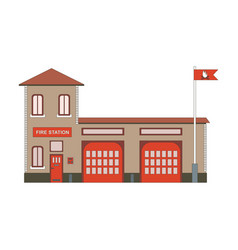 fire station building icon flat vector image vector image