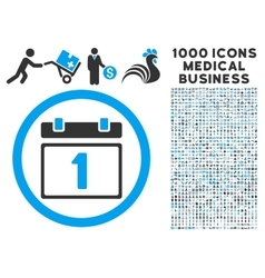 First day icon with 1000 medical business symbols vector