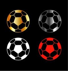 Footballs on black background vector image