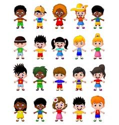 happy boy kids cartoon collection vector image vector image