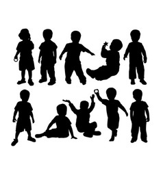Happy kids activity silhouettes vector