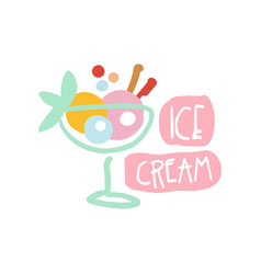 Ice cream logo template colorful hand drawn vector