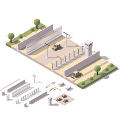Isometric border checkpoint vector