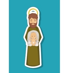 Joseph cartoon and baby jesus of holy night design vector