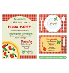 Make your own pizza party invitation set vector