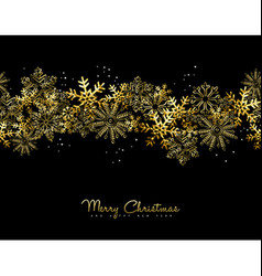 Merry Christmas and New Year gold snow card design vector image