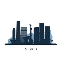 mexico skyline monochrome silhouette vector image