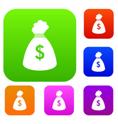money bag set collection vector image