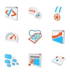 Optimization icons set cartoon style vector image vector image
