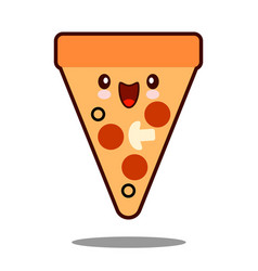 pizza cartoon character icon kawaii fast food flat vector image