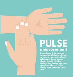Pulse measurement determining heart rate first aid vector